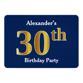 Blue, Faux Gold 30th Birthday Party + Custom Name Card