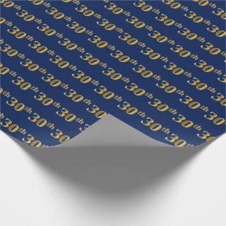 Blue, Faux Gold 30th (Thirtieth) Event Wrapping Paper