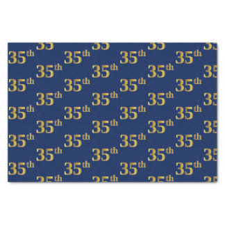 Blue, Faux Gold 35th (Thirty-Fifth) Event Tissue Paper