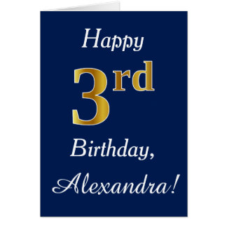 Blue, Faux Gold 3rd Birthday + Custom Name Card