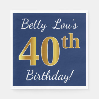 Blue, Faux Gold 40th Birthday + Custom Name Disposable Napkin