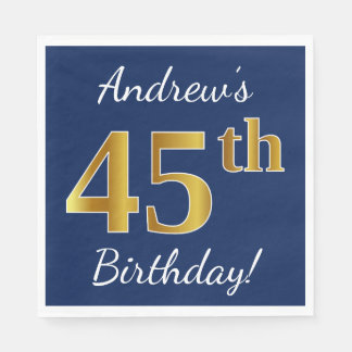 Blue, Faux Gold 45th Birthday + Custom Name Disposable Napkin