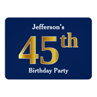 Blue, Faux Gold 45th Birthday Party + Custom Names Card