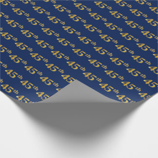Blue, Faux Gold 45th (Forty-Fifth) Event Wrapping Paper