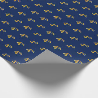 Blue, Faux Gold 4th (Fourth) Event Wrapping Paper
