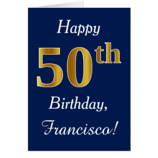 Blue, Faux Gold 50th Birthday + Custom Name Card