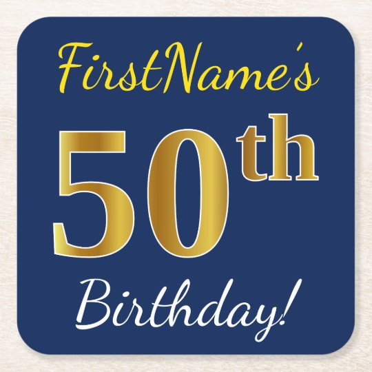 Blue, Faux Gold 50th Birthday + Custom Name Square Paper Coaster