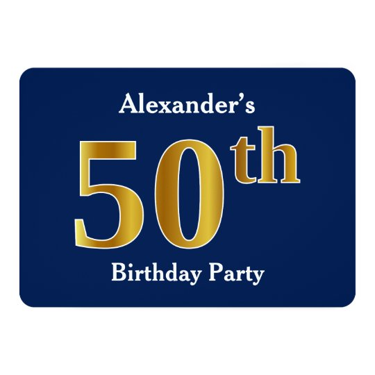 Blue, Faux Gold 50th Birthday Party + Custom Names Card