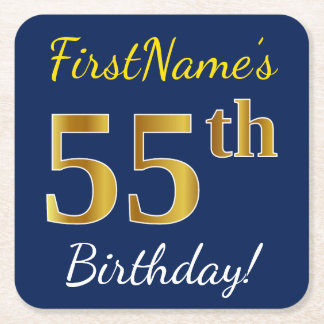 Blue, Faux Gold 55th Birthday + Custom Name Square Paper Coaster