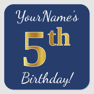 Blue, Faux Gold 5th Birthday + Custom Name Sticker