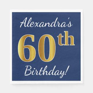 Blue, Faux Gold 60th Birthday + Custom Name Paper Napkin