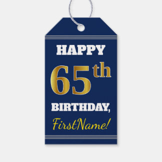 Blue, Faux Gold 65th Birthday + Custom Name Gift Tags
