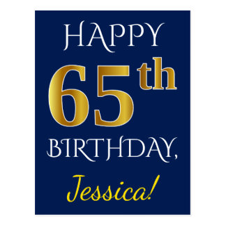 Blue, Faux Gold 65th Birthday + Custom Name Postcard
