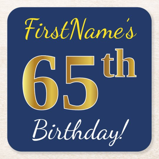 Blue, Faux Gold 65th Birthday + Custom Name Square Paper Coaster