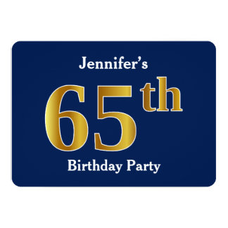 Blue, Faux Gold 65th Birthday Party + Custom Names Card