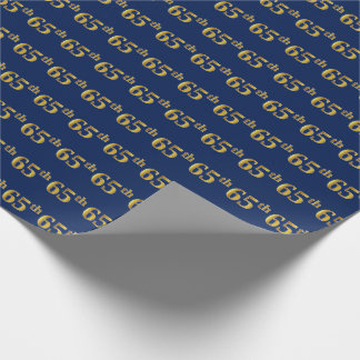 Blue, Faux Gold 65th (Sixty-Fifth) Event Wrapping Paper