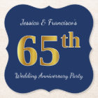 Blue, Faux Gold 65th Wedding Anniversary Party Paper Coaster
