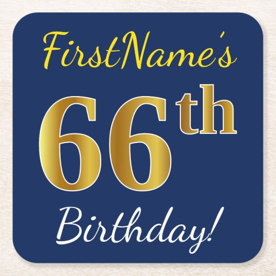 Blue, Faux Gold 66th Birthday + Custom Name Square Paper Coaster