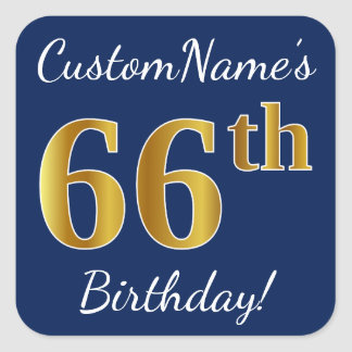 Blue, Faux Gold 66th Birthday + Custom Name Square Sticker
