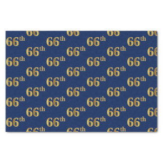 Blue, Faux Gold 66th (Sixty-Sixth) Event Tissue Paper