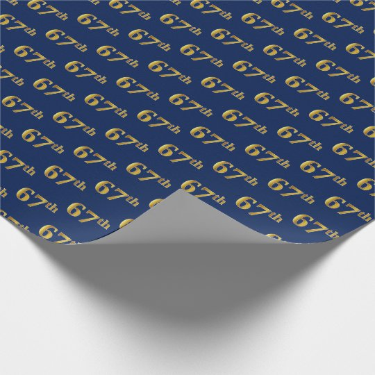 Blue, Faux Gold 67th (Sixty-Seventh) Event Wrapping Paper