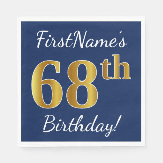 Blue, Faux Gold 68th Birthday + Custom Name Paper Napkin