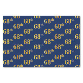 Blue, Faux Gold 68th (Sixty-Eighth) Event Tissue Paper