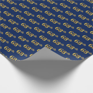 Blue, Faux Gold 68th (Sixty-Eighth) Event Wrapping Paper