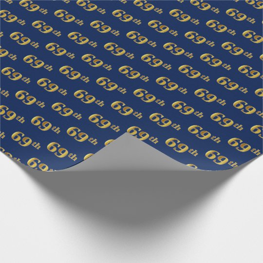 Blue, Faux Gold 69th (Sixty-Ninth) Event Wrapping Paper