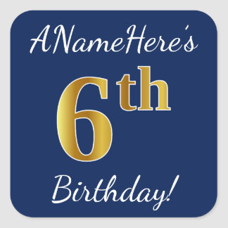 Blue, Faux Gold 6th Birthday + Custom Name Sticker