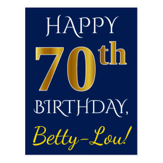 Blue, Faux Gold 70th Birthday + Custom Name Postcard