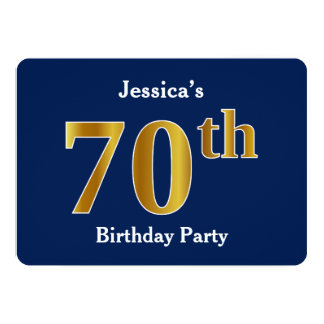 Blue, Faux Gold 70th Birthday Party + Custom Name Card