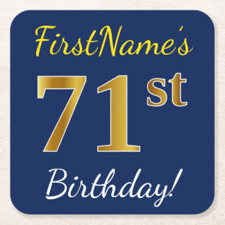 Blue, Faux Gold 71st Birthday + Custom Name Square Paper Coaster