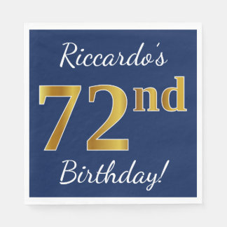 Blue, Faux Gold 72nd Birthday + Custom Name Disposable Napkins