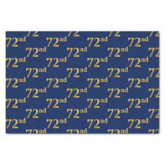 Blue, Faux Gold 72nd (Seventy-Second) Event Tissue Paper