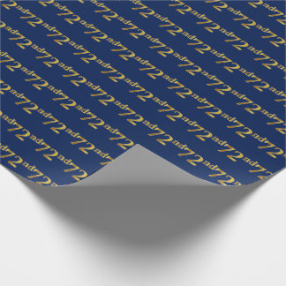 Blue, Faux Gold 72nd (Seventy-Second) Event Wrapping Paper