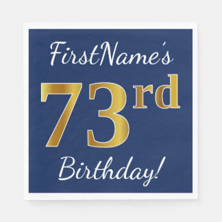 Blue, Faux Gold 73rd Birthday + Custom Name Napkin
