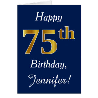 Blue, Faux Gold 75th Birthday + Custom Name Card