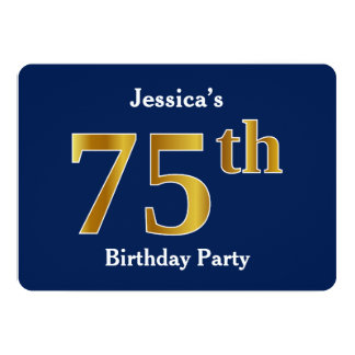 Blue, Faux Gold 75th Birthday Party + Custom Name Card