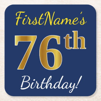 Blue, Faux Gold 76th Birthday + Custom Name Square Paper Coaster