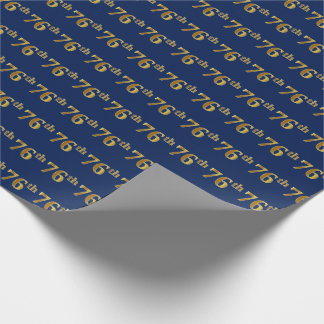 Blue, Faux Gold 76th (Seventy-Sixth) Event Wrapping Paper
