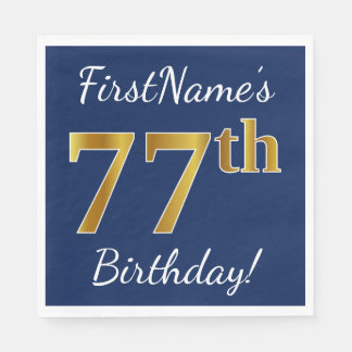 Blue, Faux Gold 77th Birthday + Custom Name Paper Napkin