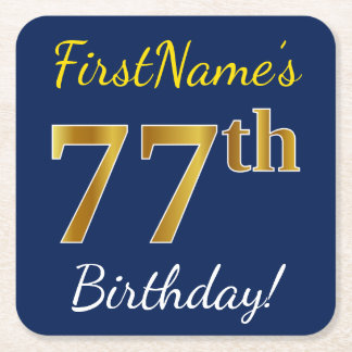 Blue, Faux Gold 77th Birthday + Custom Name Square Paper Coaster