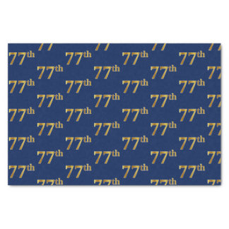 Blue, Faux Gold 77th (Seventy-Seventh) Event Tissue Paper
