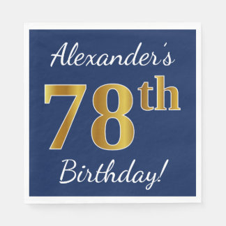 Blue, Faux Gold 78th Birthday + Custom Name Paper Napkin