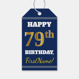 Blue, Faux Gold 79th Birthday + Custom Name Gift Tags