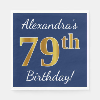 Blue, Faux Gold 79th Birthday + Custom Name Paper Napkins