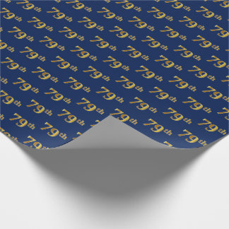 Blue, Faux Gold 79th (Seventy-Ninth) Event Wrapping Paper