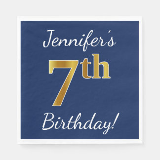 Blue, Faux Gold 7th Birthday + Custom Name Paper Napkin