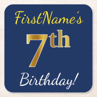 Blue, Faux Gold 7th Birthday + Custom Name Square Paper Coaster